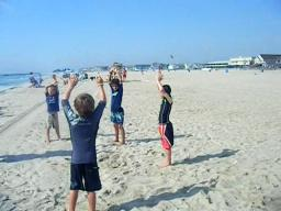 SUmmertime Surf Camp, Belmar yoga and streches