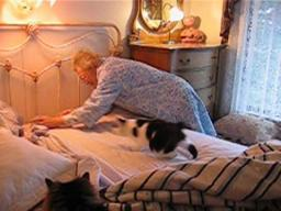 Cedric Helps Grandma Make The Bed. . .NOT!
