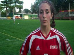 Mel Stier reacts to her 4 goal performance against Chicopee
