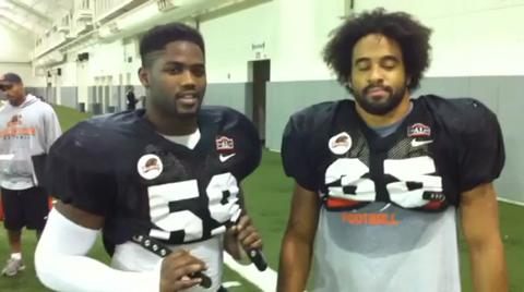 Dwight Roberson and Keith Pankey after Wednesday's Oregon State football practice