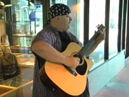 Street musicians let out their best note