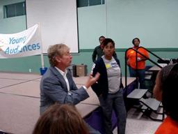Nigel Lythgoe chats with young tap dancers in Harvey