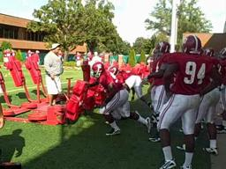 Alabama's Marcell Dareus tests his tender ankle
