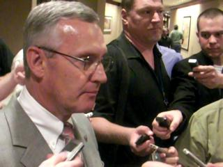 Jim Tressel at Big Ten meetings