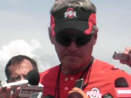 Ohio State coach Jim Tressel talks about injured linebacker Tyl
