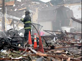 Explosion destroys homes on Cleveland's eastside.