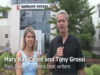 Tony Grossi and Mary Kay Cabot look toward the Browns Training Camp in July