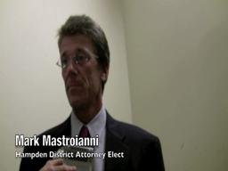 Mark Mastroianni talks to reporters after being elected Hampden district attorney
