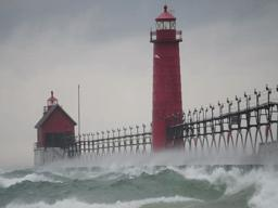 Bird tries to fly in wind storms near Grand Haven Pier