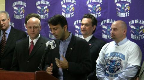 Gov. Bobby Jindal announces New Orleans Hornets have met attendance benchmark: video