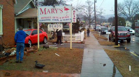 Car Crashes into Mary's 01.25.11