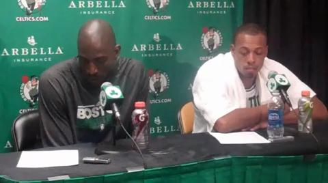 Paul Pierce and Kevin Garnett address the media following win over the Hawks