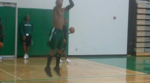 Celtics guard Ray Allen goes through a workout after practice 1/24/11