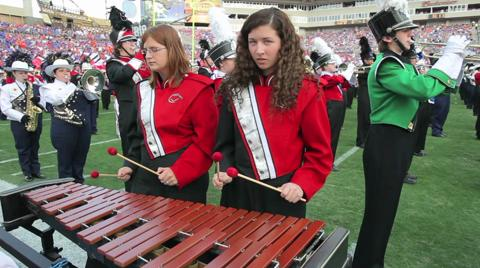 Cumberland Valley High School marching band performs at halftime of the Outback Bowl