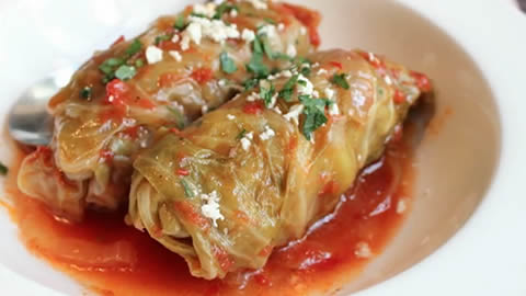 Lamb &amp; Rice Stuffed Cabbage Rolls