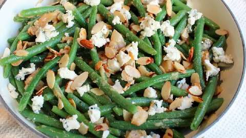 Green Bean Almondine with Garlic & Blue Cheese