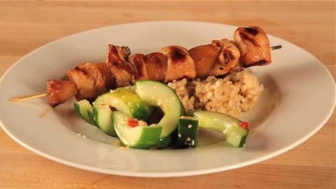 Low-Cal Hawaiian Chicken Kabob Dinner