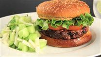 Spicy Burgers with Melon and Jicama Salad