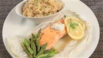 Salmon & Asparagus en Papillote with Brown Rice