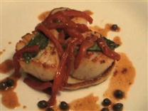 Red Pepper Scallops on Potato Pancakes