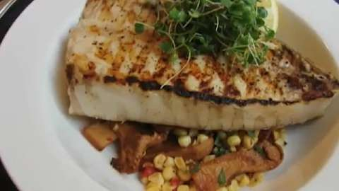 Grilled Halibut Steaks with Corn & Chanterelles