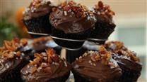 Dark Chocolate Bacon Cupcakes
