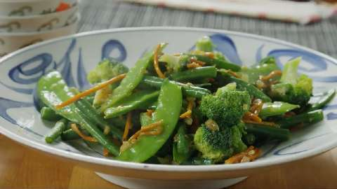 ... favorite veggies stir fried with a mild garlic ginger and soy sauce