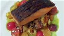 Crispy Skin Salmon on Potato Mushroom Salad