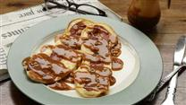 Bacon Pancakes with Maple-Peanut Butter Sauce