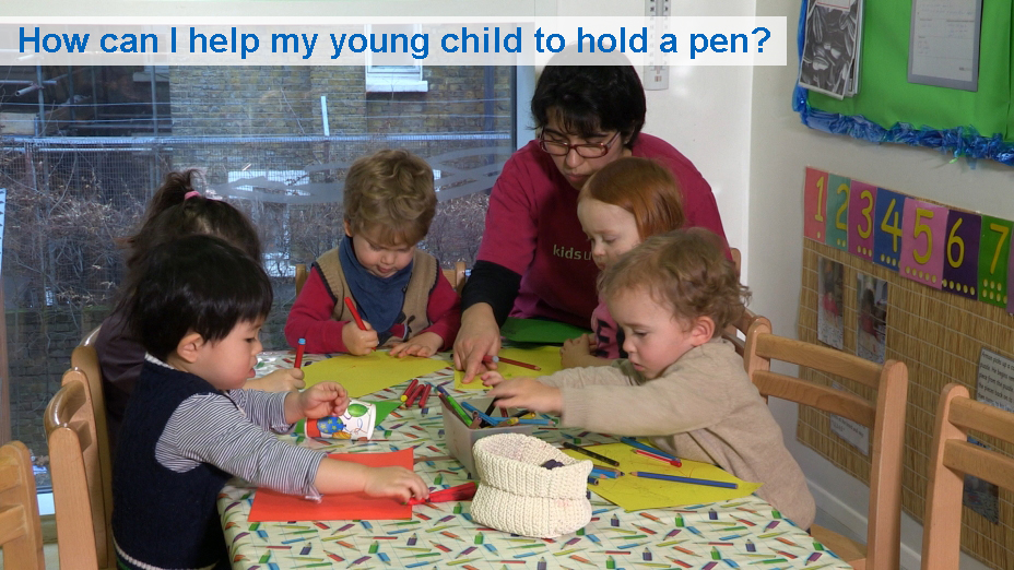 How can I help my young child to hold a pen? (6 to 30 months)