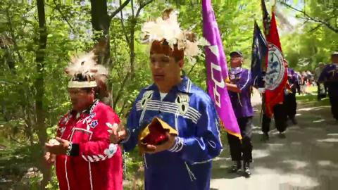 Solon Spruce and Derlan Spruce of Lawtons lead the procession ending the commemoration of the 1842 treaty on New York State Indian Day.