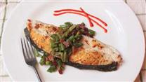 Seared Halibut Steaks with Bacon Bean Relish