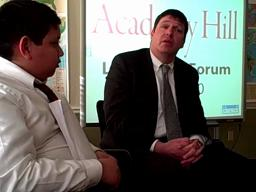 Mass Mutual CEO Roger Crandall discusses leadership with Academy Hill students