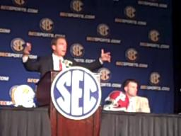 Nick Saban in the print room at SEC Media Days