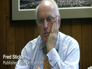 The Oregonian's publisher, Fred Stickel, announces his retireme