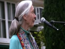 Jane Goodall speaks at the Portland French School