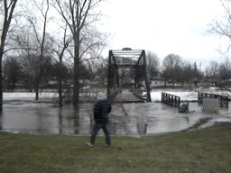 Parshallburg Bridge floats from its foundation in Chesaning