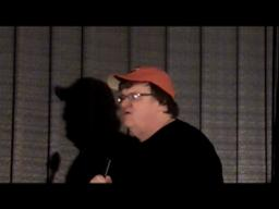 Michael Moore visits the Harbor Theater
