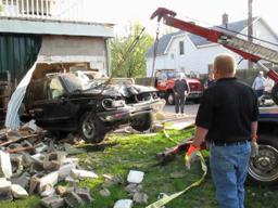 SUV hits church