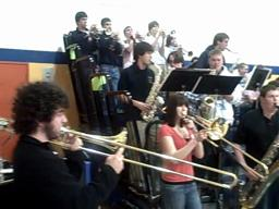 The Hopkins Academy basketball pep band plays the Star Wars Imperial March