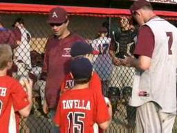 Amherst's Kevin Ziomek signs autographs for East Longmeadow youth baseball players