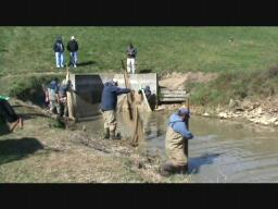 Pennsylvania Fish & Boat Commission fish salvage at Opossum Lak