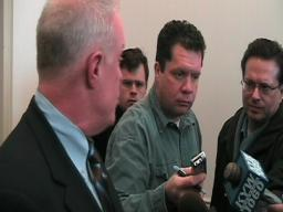 Pennsylvania Rep. Bill DeWeese talks to the press after his arraignment