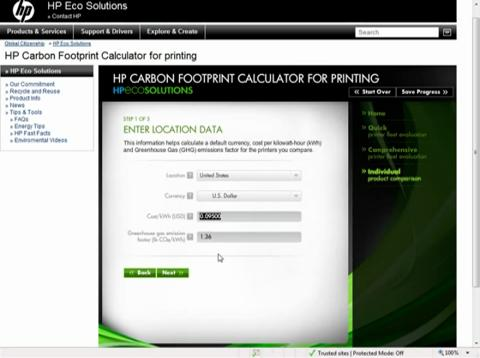 HP Carbon Footprint Calculator