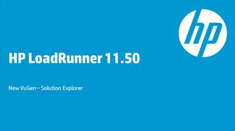 HP LoadRunner 11.50 - Tutorial: VUGen: Solution Explorer