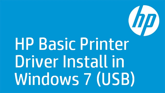 HP Basic Printer Driver Install in Windows 7 (USB)