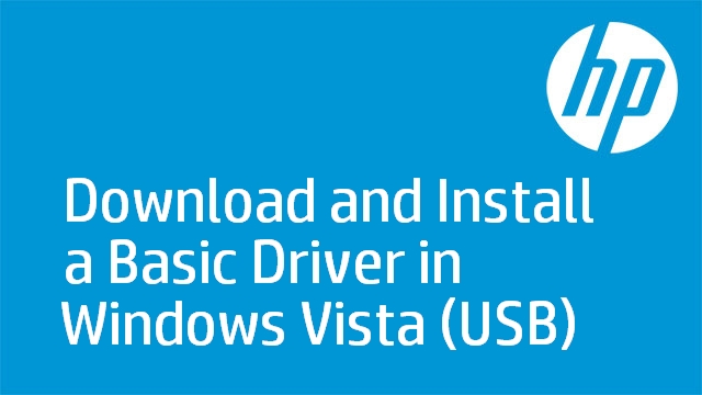 Download and Install a Basic Driver in Windows Vista (USB)