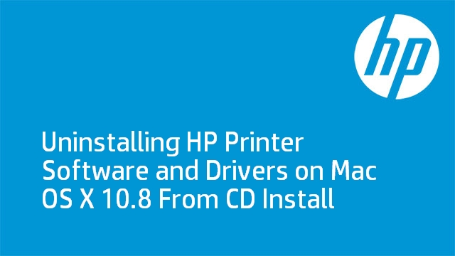 Uninstalling HP Printer Software and Drivers on Mac OS X 10.8 From CD Install