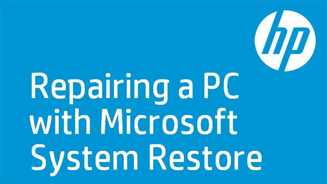 Repairing a PC with Microsoft System Restore