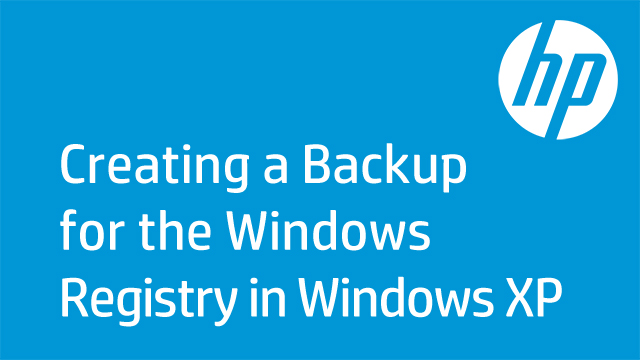 Creating a Backup for the Windows Registry in Windows XP
